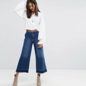 Free People A Line Cropped Flared Jeans NEW